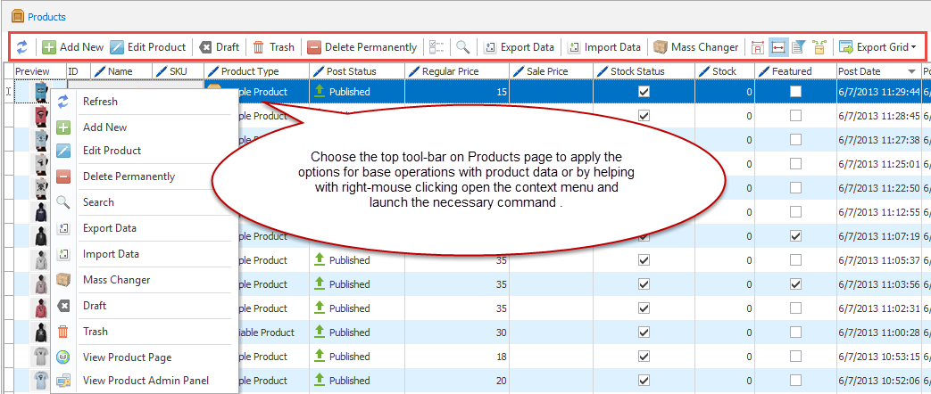 Products top toolbar