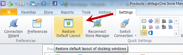 Restore Default Layout Option