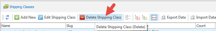 Delete shipping class option