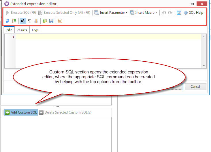 Custom SQL area