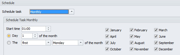 Monthly scheduler