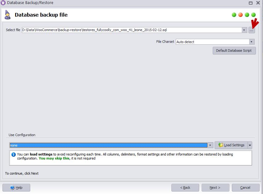 Restore backup file
