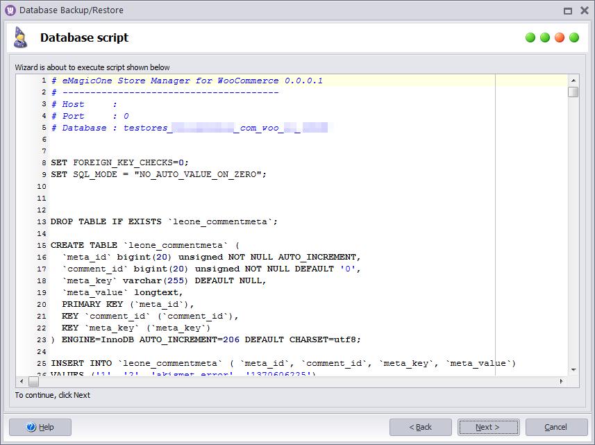 Restore Database Script