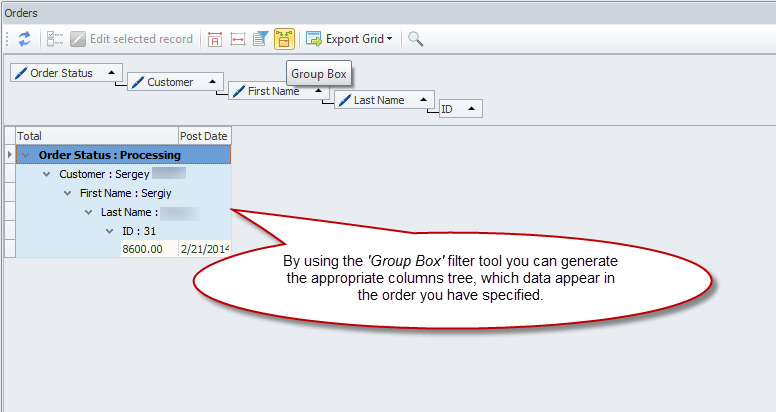 Group box filter tool