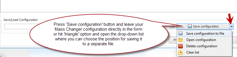 Save configuration option