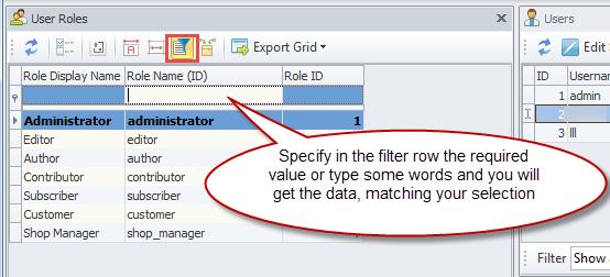 Filter Row tool
