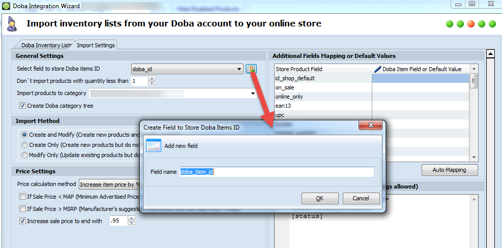 Create new field for Doba Item ID