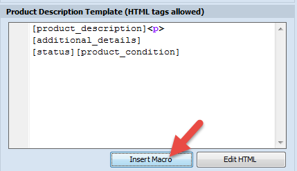 'Insert Macros' button