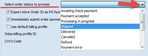 Select order status