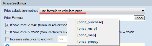 Use formula to calculate product price