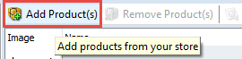 Add products button in top toolbar