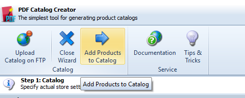Add Products to Catalog option