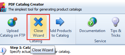 Close wizard option