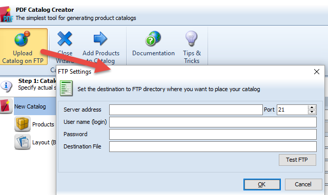 Upload Catalog on FTP server