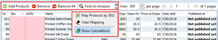 Product toolbar