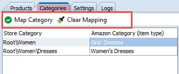 Categories tab top toolbar