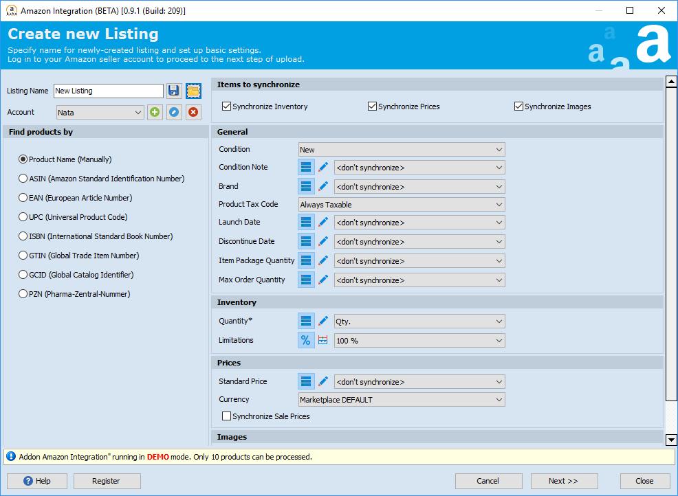 Create new listing step