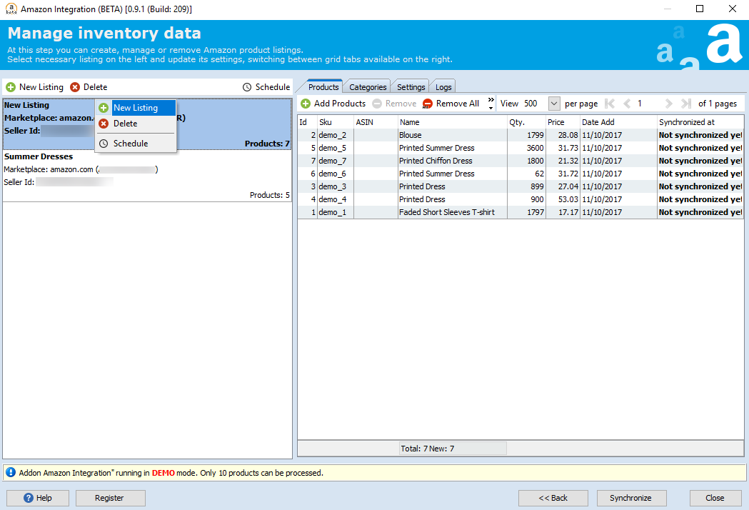 Manage Inventory Data