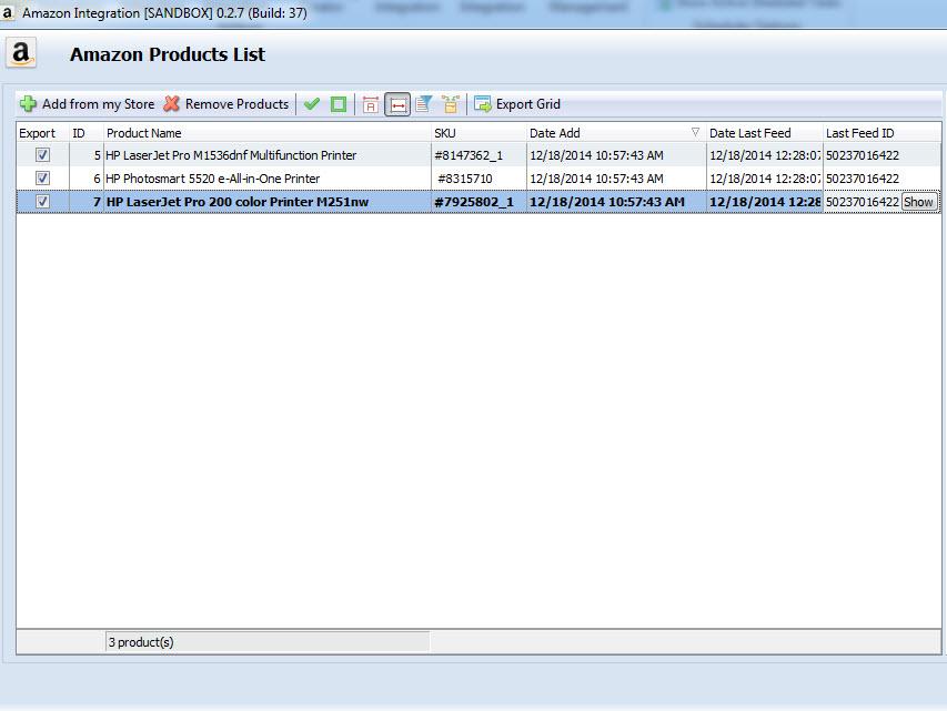 amazon Product List Synchronization