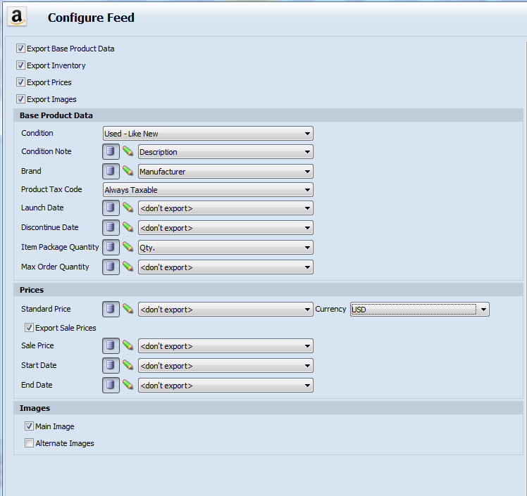 Configure Feed page