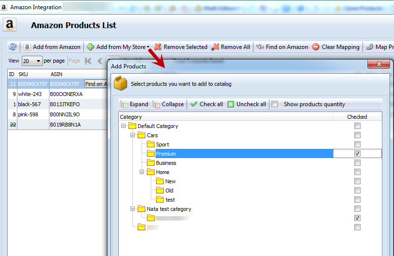 Search products from Categories Tree