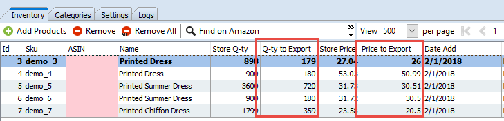 Data to Export columns