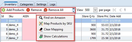 Inventory tab data