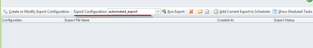 specify export configuration