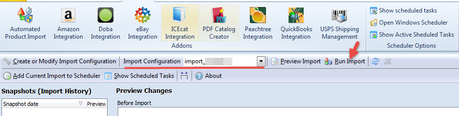 Run import process