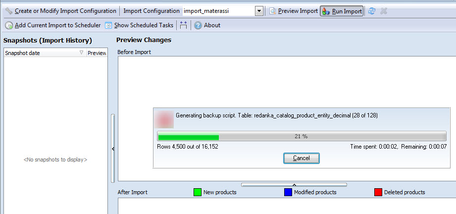 Run import data processing