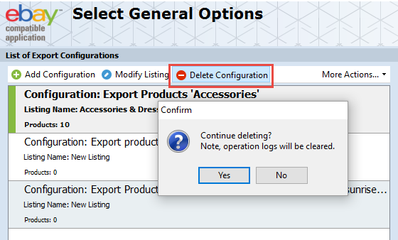 Delete Configuration option