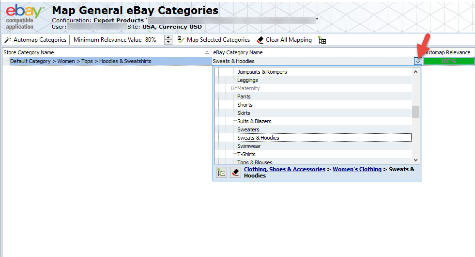 Map eBay Categories listing
