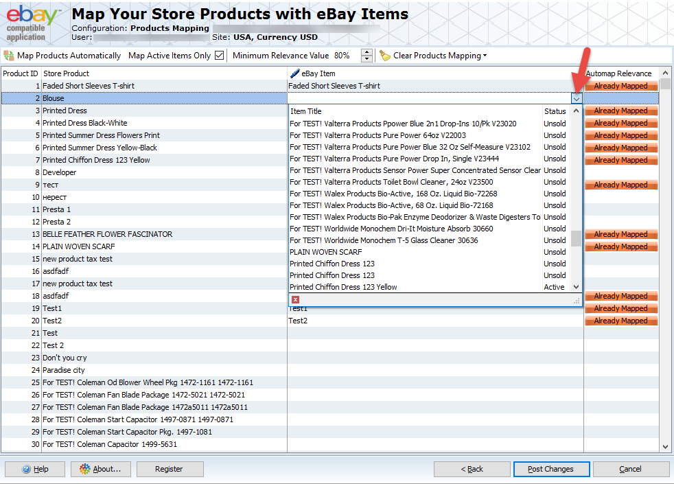 Map products with eBay etems