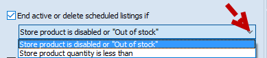 Out of stock dropdown
