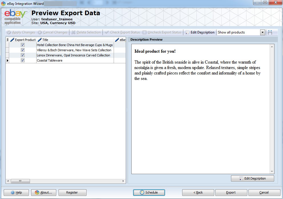 Preview Export Data step