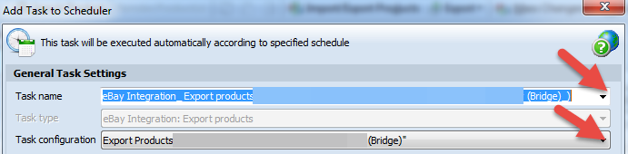 Choose schedule task name and configuration
