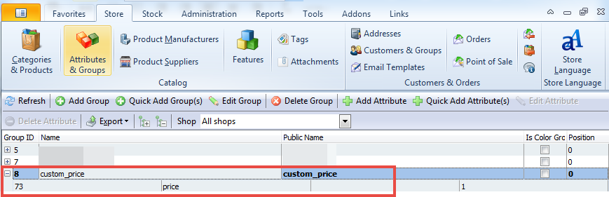 Add custom price to the attributes section