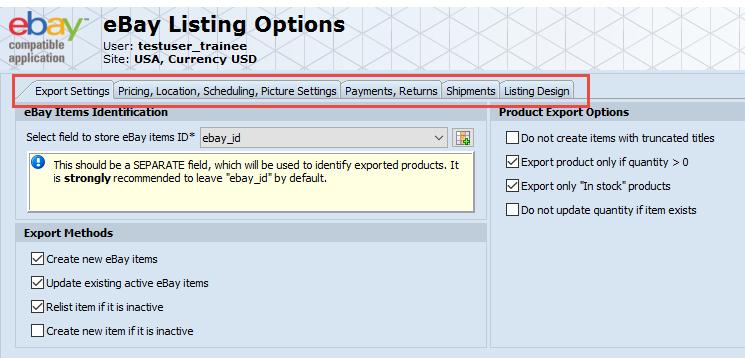eBay Listing Options tabs