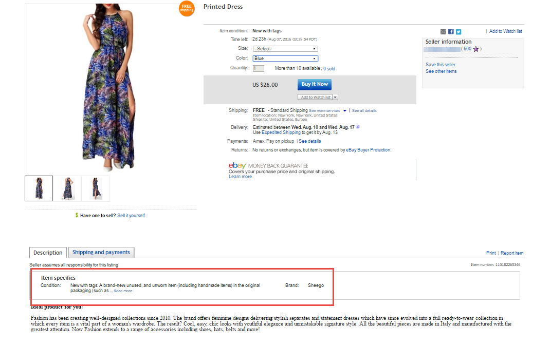 Items specifics on eBay