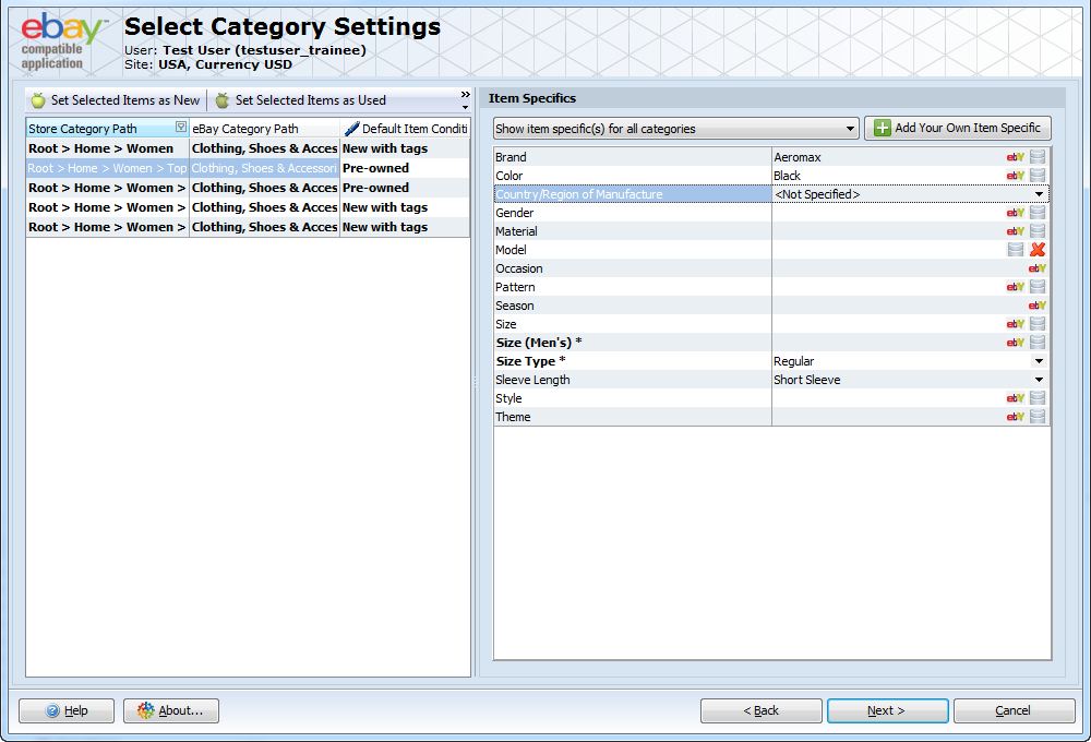 Select Category Settings
