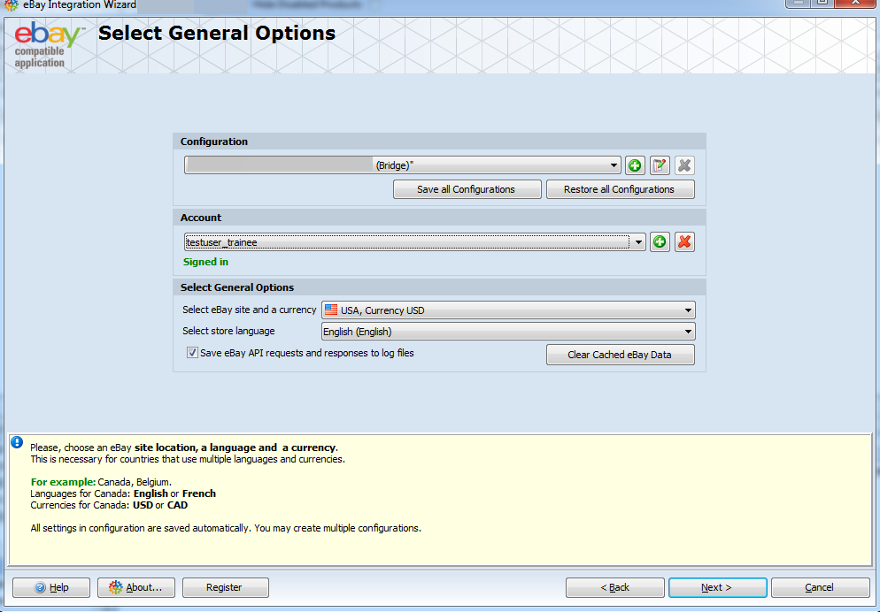 Select General Options step