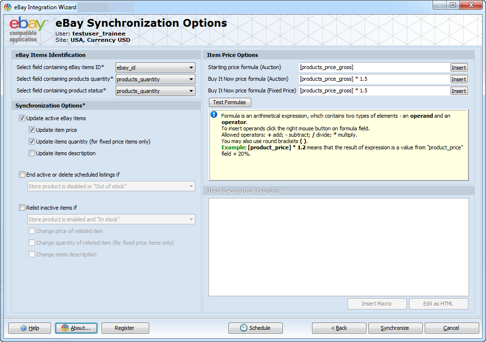 eBay Synchronization Options