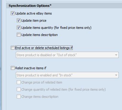 Synchronization Options area