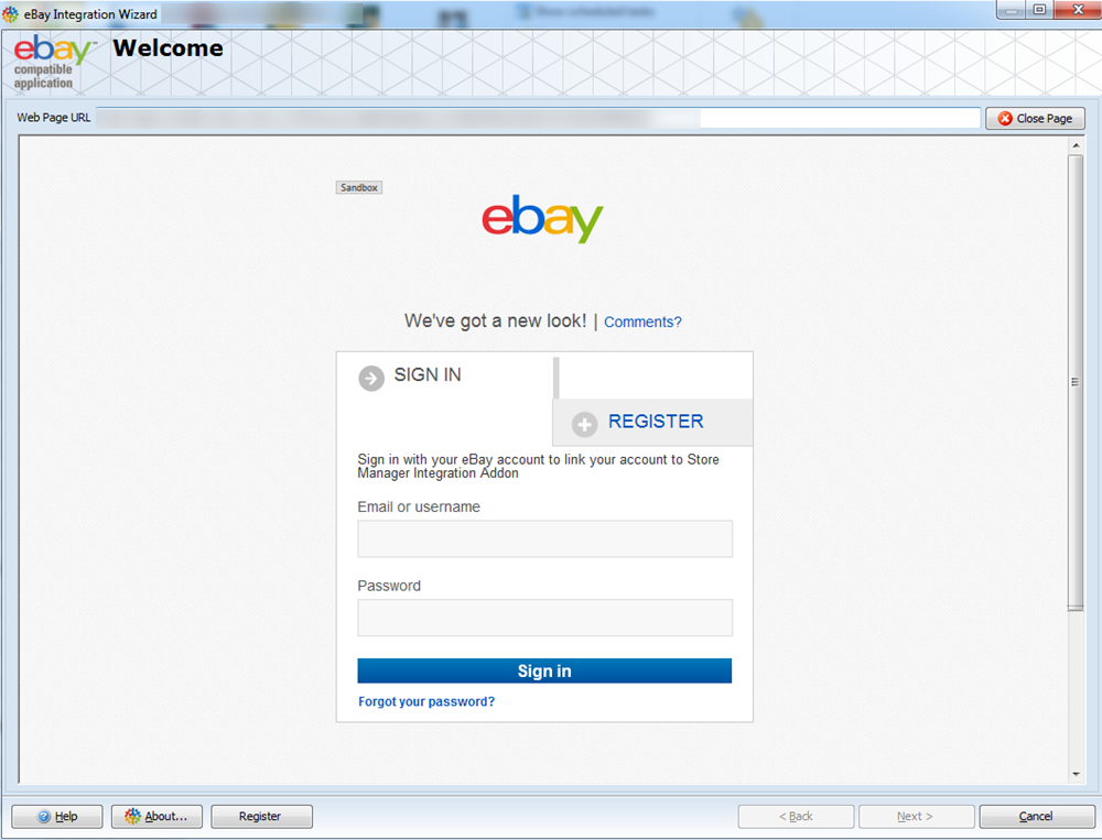 Welcome page in eBay Addon