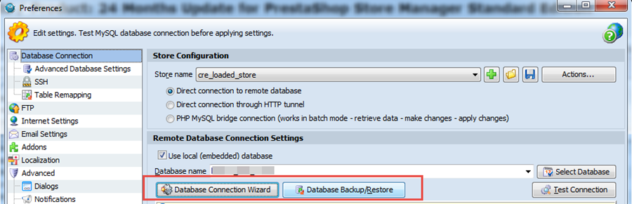Connection Wizard and Backup buttons