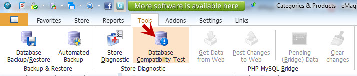 Database compatibility test button