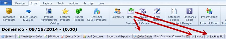 Orders Toolbar