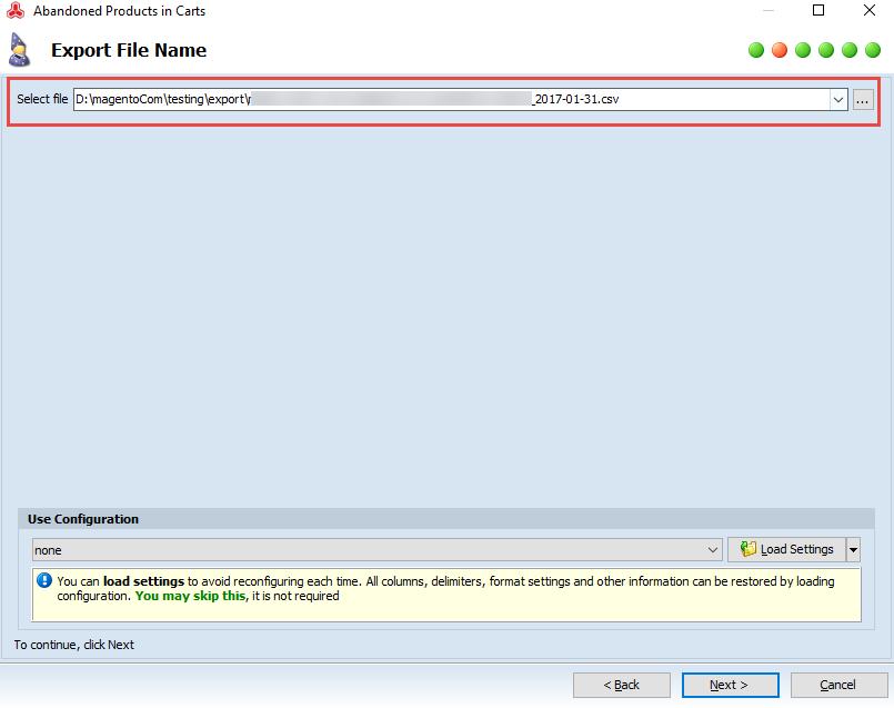 Select file name step