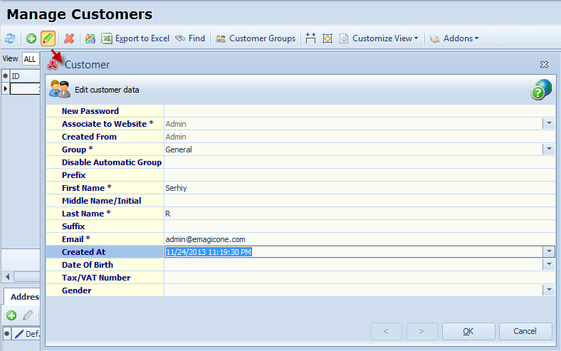 Edit Customer option