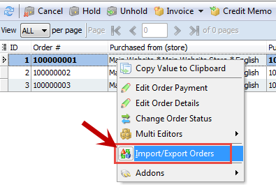 Import/export orders context menu